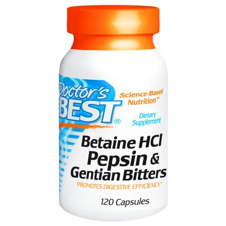 Doctor's Best Betaine HCl Pepsin & Gentian Bitters, Capsules - 120 ea