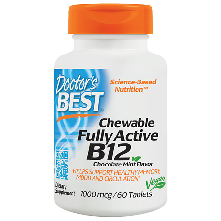 Doctor's Best Chewable Fully Active B12 Tablets Chocolate Mint - 60 ea