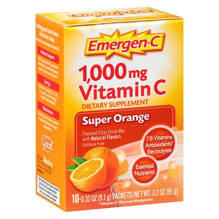 Emergen-C 1000 mg Vitamin C Dietary Supplement Fizzy Drink Mix Orange - 10 ea