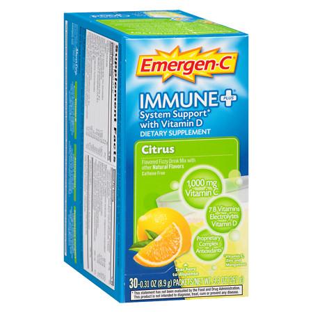 Emergen-C Immune+ System Support Fizzy Drink Mix Citrus - 30 ea