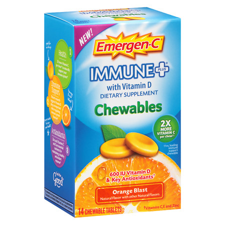 Emergen-C Immune+ with Vitamin D Chewables Orange - 14 ea