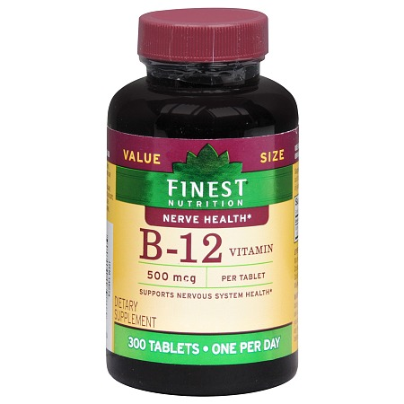 Finest Nutrition B-12 Vitamin 500 mcg Dietary Supplement Tablets - 300 ea