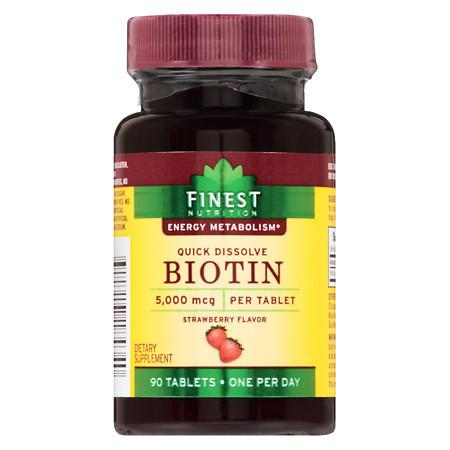 Finest Nutrition Biotin 5000 mcg Strawberry - 90 ea