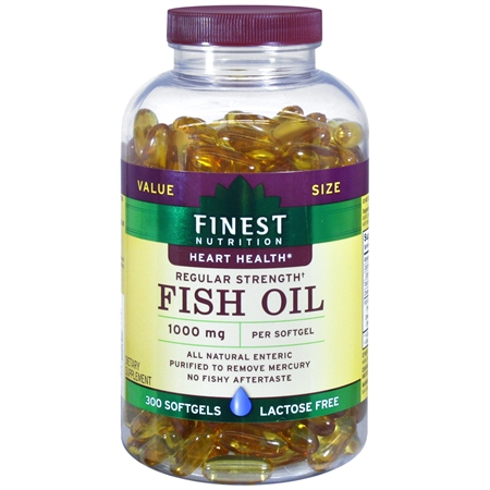 Finest Nutrition Fish Oil 1000 mg Dietary Supplement Softgels - 300 ea