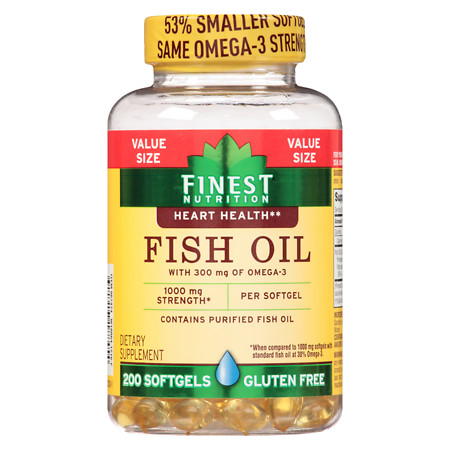 Finest Nutrition Fish Oil 1000 mg Softgels - 200 ea