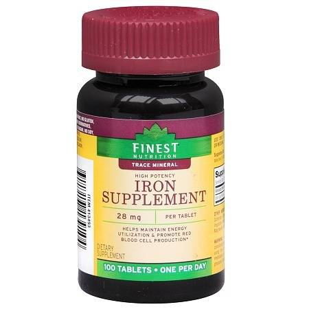 Finest Nutrition Iron Supplement 28mg, Tablets - 100 ea