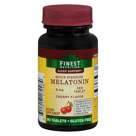 Finest Nutrition Melatonin 5mg, Quick Dissolve Sublingual Tablets Cherry - 90 ea