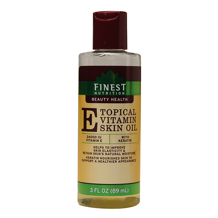 Finest Nutrition Topical Vitamin E Skin Oil with Keratin - 3 oz.