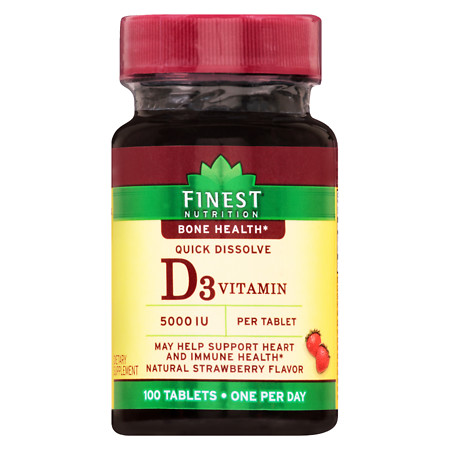 Finest Nutrition Vitamin D 5000 IU Tablets Strawberry - 100 ea