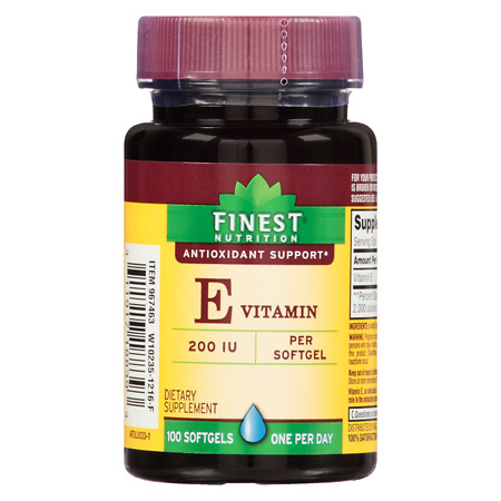 Finest Nutrition Vitamin E 200 IU Softgels - 100 ea