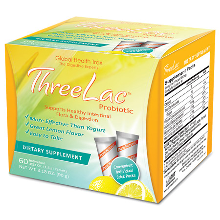 Global Health Trax Threelac Probiotic Dietary Supplement Packets Lemon - 60 packets
