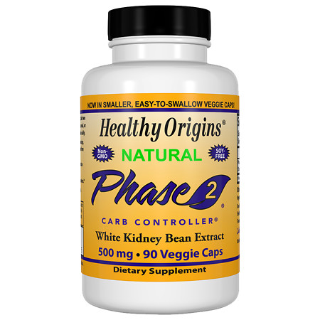 Healthy Origins Phase 2, White Kidney Bean Extract 500 mg, Capsules - 90 ea