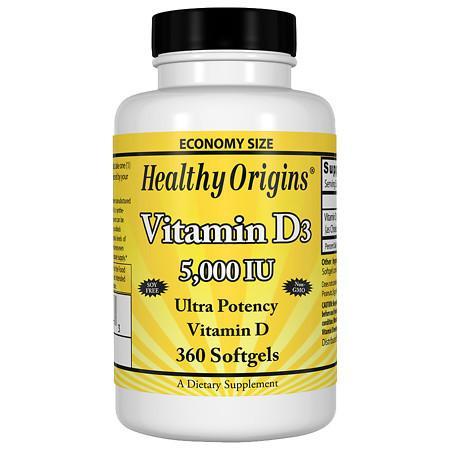 Healthy Origins Vitamin D3, 5000 IU, Softgels - 360 ea