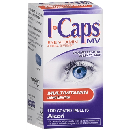 ICaps by Alcon, Lutein Enriched Multivitamin, Coated Tablets - 100 ea