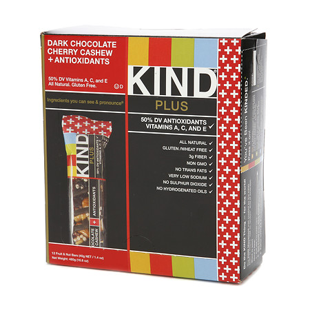KIND Plus Nutrition Bars Dark Chocolate Cherry Cashew + Antioxidants - 1.4 oz.