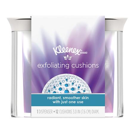 Kleenex Exfoliating Cushions, Refillable Dispenser & Pads - 12 ea