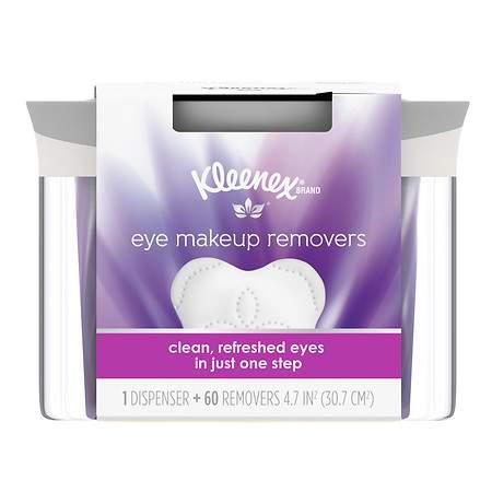 Kleenex Moist Eye Makeup Remover, Refillable Dispenser & Removers - 60 ea