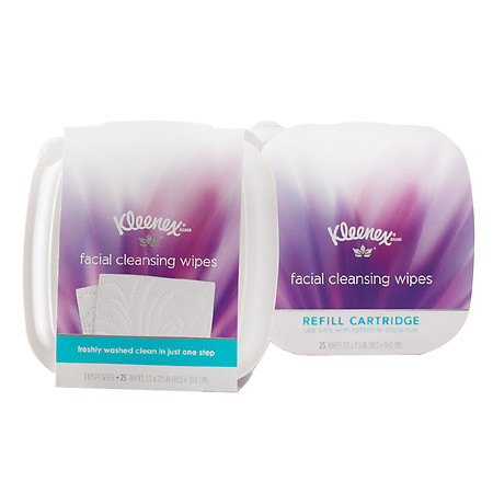 Kleenex Moist Facial Cleansing Wipes, Refillable Dispenser & Refill Cartridge - 25 ea