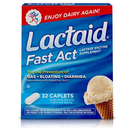 Lactaid Lactase Enzyme Supplement, Caplets - 32 ea