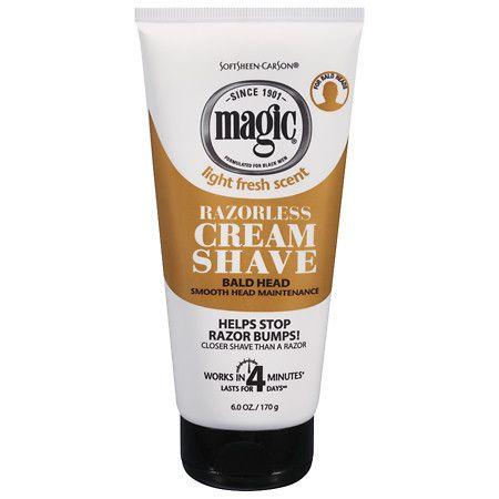 Magic Shave Razorless Cream Shave, Bald Head Smooth Head Maintenance Light Fresh Scent - 6 oz.