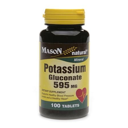 Mason Natural Potassium Gluconate, 595mg, Tablets - 100 ea