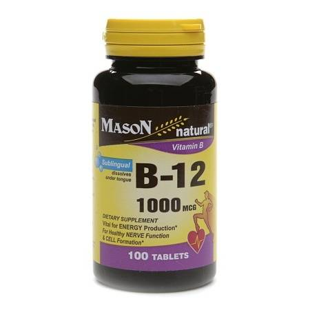 Mason Natural Vitamin B-12 1000mcg, Sublingual Tablets - 100 ea
