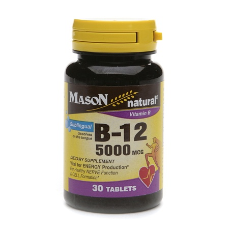 Mason Natural Vitamin B-12, 5000mcg, Sublingual Tablets - 30 ea
