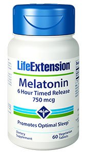 Melatonin 6 Hour Timed Release, 750 mcg, 60 vegetarian tablets