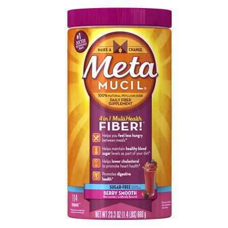 Metamucil Smooth Sugar Free Fiber Powder, 114 Teaspoons Berry - 23.3 oz.