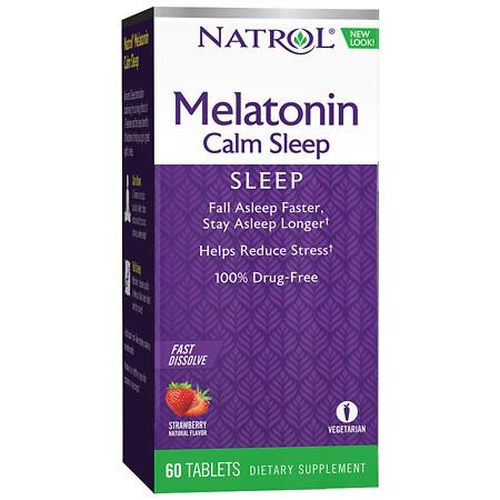Natrol Advanced Melatonin Calm Sleep Dietary Supplement Tablets Strawberry - 60 ea
