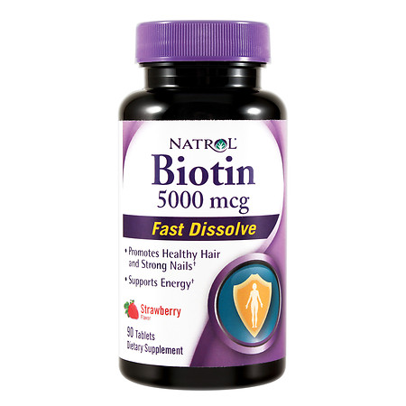 Natrol Biotin 5000mcg Fast Dissolve, Tablets Strawberry - 90 ea