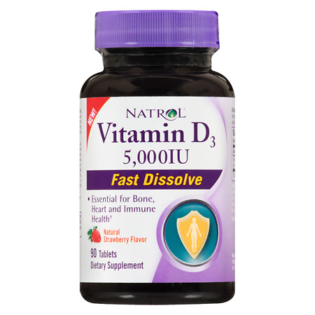 Natrol Vitamin D3 5,000IU Fast Dissolve Strawberry - 90 ea