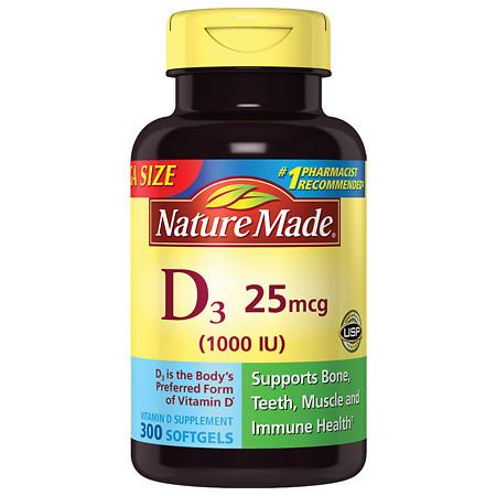 Nature Made D3 1000 IU Dietary Supplement Liquid Softgels - 300 ea