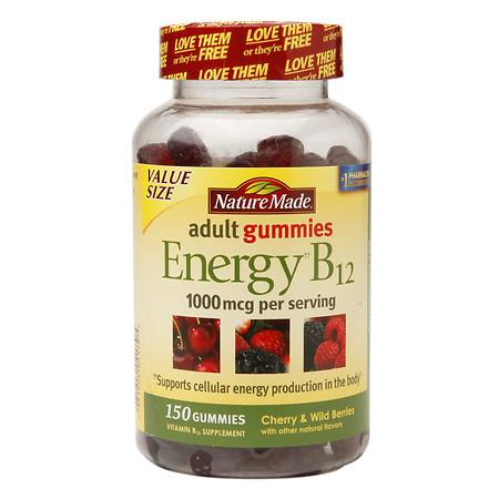 Nature Made Energy B12 1000mcg Adult Gummies Cherry & Wild Berries - 150 EA