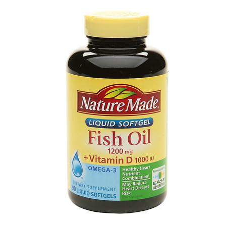 Nature Made Fish Oil 1200 mg +Vitamin D Liquid Softgels - 90 ea