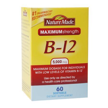 Nature Made Maximum Strength Vitamin B-12 5000mcg, Softgels - 60 ea