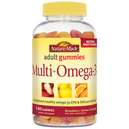 Nature Made Multi+Omega-3 Gummies Strawberry, Lemon & Orange - 140 ea