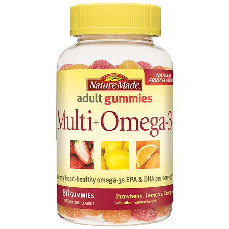 Nature Made Multi+Omega-3 Gummies Strawberry, Lemon & Orange - 80 ea