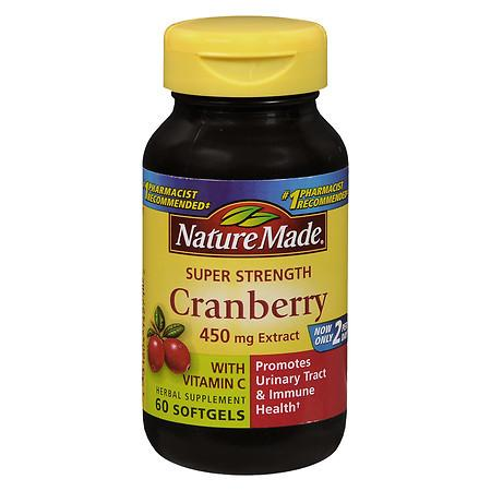 Nature Made Super Strength Cranberry Herbal Supplement 450 mg Extract Softgels - 60 ea