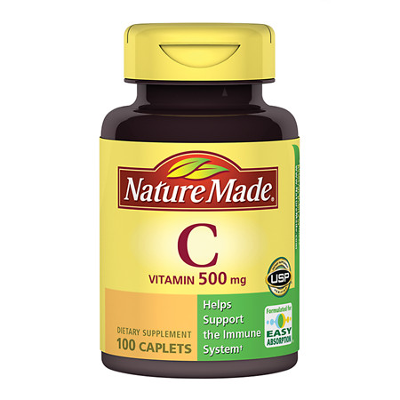 Nature Made Vitamin C 500 mg Dietary Supplement Caplets - 100 ea