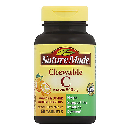 Nature Made Vitamin C 500 mg Dietary Supplement Chewable Tablets - 60 ea