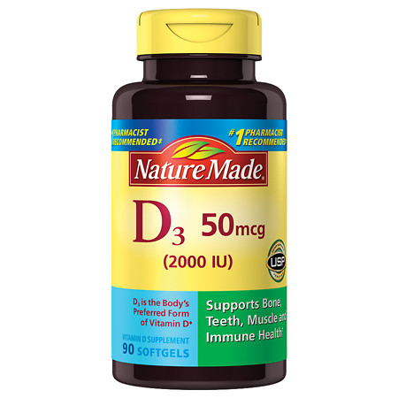 Nature Made Vitamin D 2000 IU Dietary Supplement Liquid Softgels - 90 ea