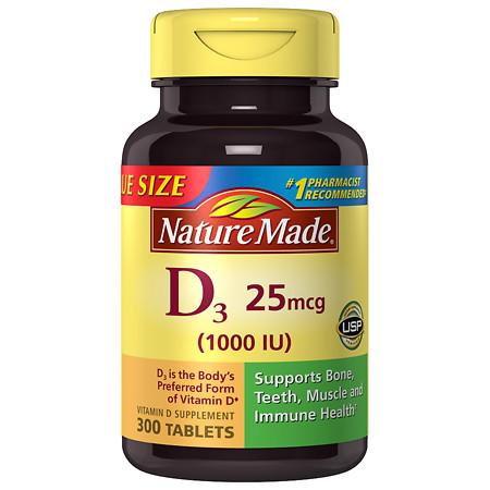 Nature Made Vitamin D3 1000 IU, Tablets - 300 ea