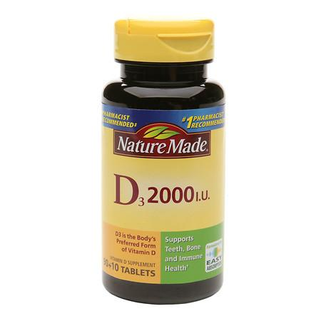 Nature Made Vitamin D3 2000 IU Dietary Supplement Tablets - 100 ea