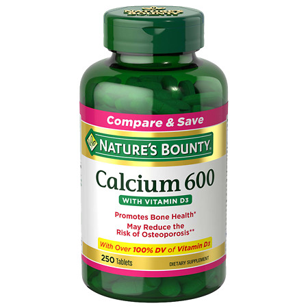 Nature's Bounty Calcium 600 with Vitamin D3, Tablets - 250 ea