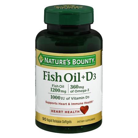 Nature's Bounty Fish Oil 1200 mg + Vitamin D3 1000 IU Dietary Supplement Softgels - 90 ea
