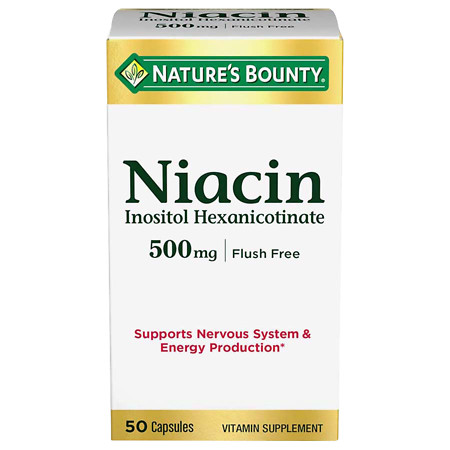 Nature's Bounty Flush Free Niacin 500 mg Dietary Supplement Capsules - 50 ea
