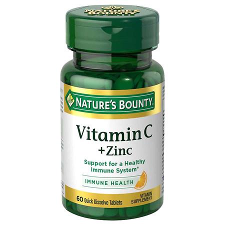 Nature's Bounty Quick Dissolve Vitamin C plus Zinc, Tablets - 60 ea