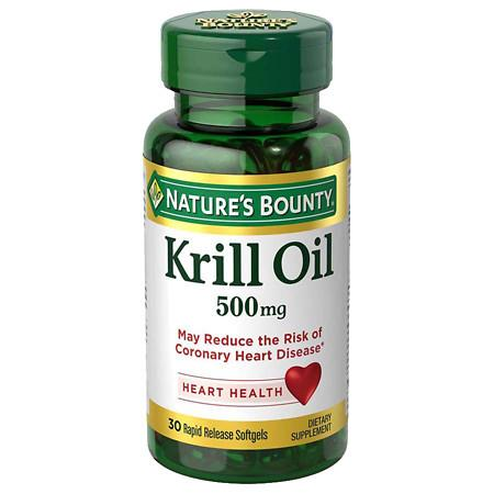 Nature's Bounty Red Krill Oil 500mg, Softgels - 30 ea