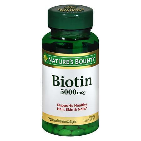 Nature's Bounty Super Potency Biotin 5000 mcg Vitamin Supplement Rapid Release Liquid Softgels - 60 ea